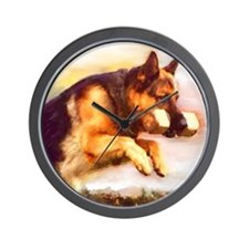 German Shepherd Jumping Wall Clock