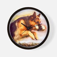 German Shepherd Jumping Wall Clock