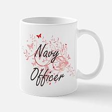 Navy Officer Artistic Job Design with Butterf Mugs