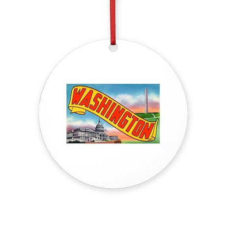 Washington D.C. Greetings Ornament (Round)