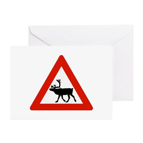 Caution Reindeers, Norway Greeting Cards (Pk of 10