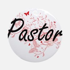Pastor Artistic Job Design with But Round Ornament
