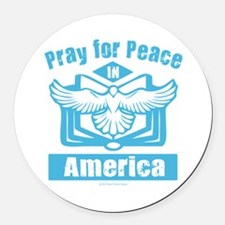 Pray for America Round Car Magnet