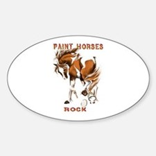 Paint Horses Rock Oval Stickers
