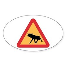 Caution Elks, Sweden Oval Decal
