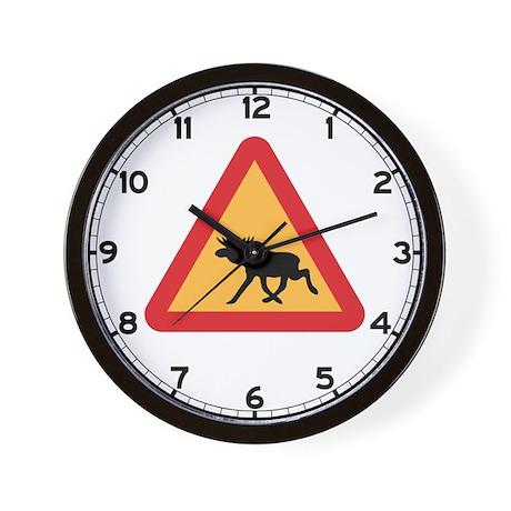 Caution Elks, Sweden Wall Clock