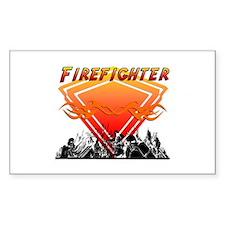 Firefighter Scene Sticker (Rectangular)