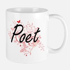 Poet Artistic Job Design with Butterflies Mugs