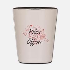 Police Officer Artistic Job Design with Shot Glass