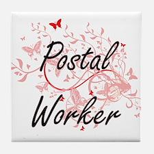 Postal Worker Artistic Job Design wit Tile Coaster