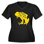 Yellow Spotted Frog Women's Plus Size V-Neck Dark