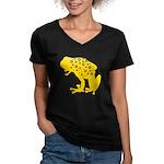 Yellow Spotted Frog Women's V-Neck Dark T-Shirt