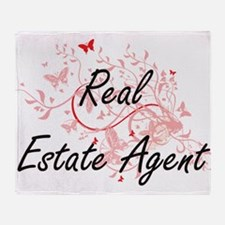 Real Estate Agent Artistic Job Desig Throw Blanket