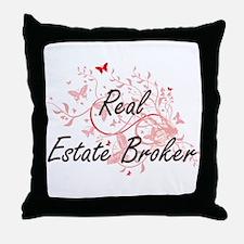 Real Estate Broker Artistic Job Desig Throw Pillow