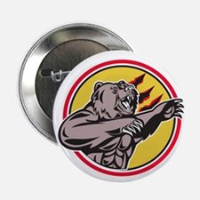 California Grizzly Bear Swiping Paw Circle Retro 2
