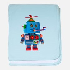 Blue birthday party toy robot baby blanket