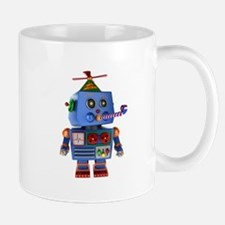 Blue birthday party toy robot Mugs