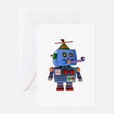 Blue birthday party toy robot Greeting Cards