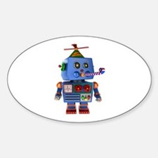 Blue birthday party toy robot Decal
