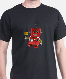 Dancing red toy robot with party sign T-Shirt