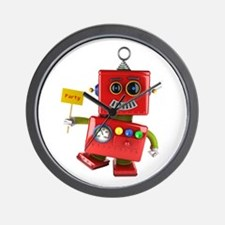 Dancing red toy robot with party sign Wall Clock