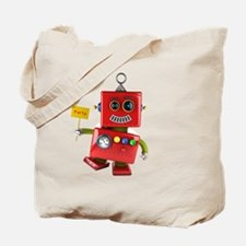 Dancing red toy robot with party sign Tote Bag