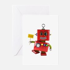 Dancing red toy robot with party si Greeting Cards