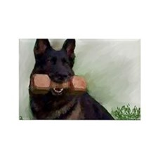 German Shepherd Mic Rectangle Magnet