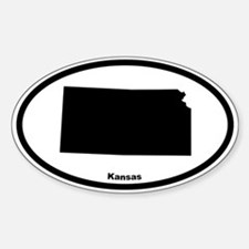 Kansas State Outline Oval Decal