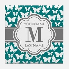 Teal and Gray Butterfly Pattern, Cust Tile Coaster