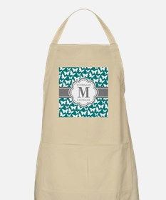 Teal and Gray Butterfly Pattern, Custom Mono Apron