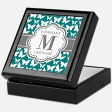 Teal and Gray Butterfly Pattern, Cust Keepsake Box