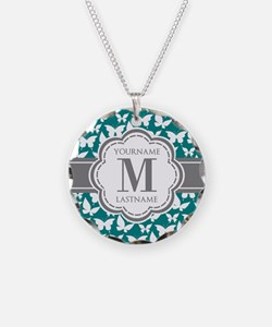 Teal and Gray Butterfly Patt Necklace Circle Charm