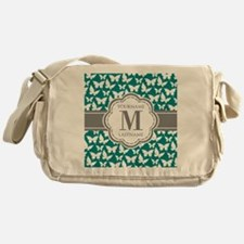 Teal and Gray Butterfly Pattern, Cus Messenger Bag