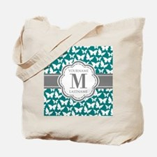 Teal and Gray Butterfly Pattern, Custom M Tote Bag