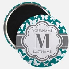 Teal and Gray Butterfly Pattern, Custom Mon Magnet