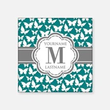 "Teal and Gray Butterfly Pat Square Sticker 3"" x 3"""