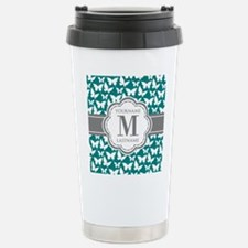 Teal and Gray Butterfly Stainless Steel Travel Mug