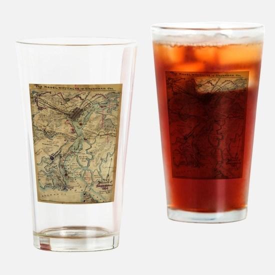 Vintage Savannah Georgia Civil War Drinking Glass