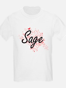 Sage Artistic Job Design with Butterflies T-Shirt