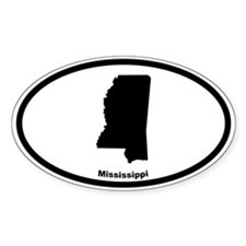 Mississippi State Outline Oval Decal
