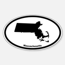 Massachusetts State Outline Oval Decal