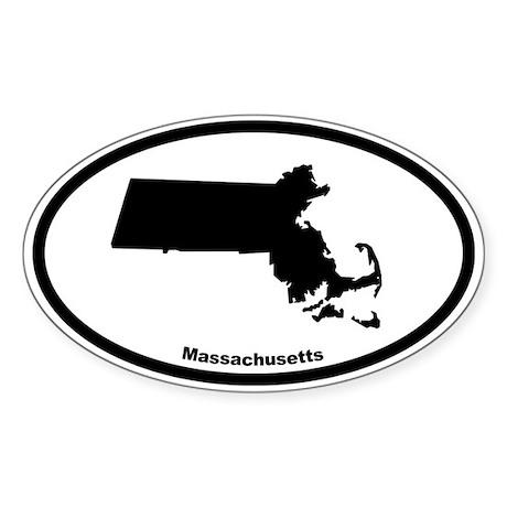 Massachusetts State Outline Oval Sticker