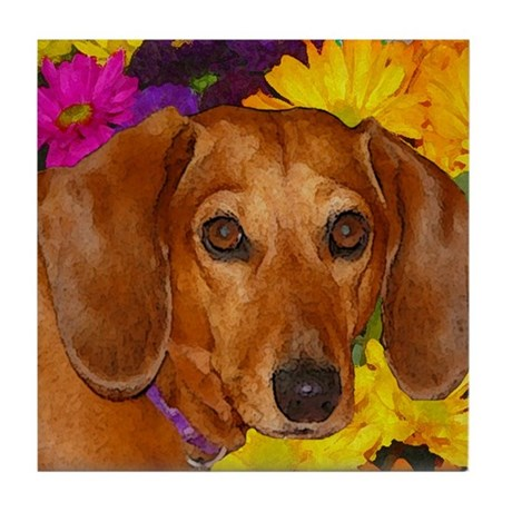 Doxie Flower Tile Coaster
