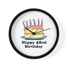 Happy 42nd Birthday Wall Clock