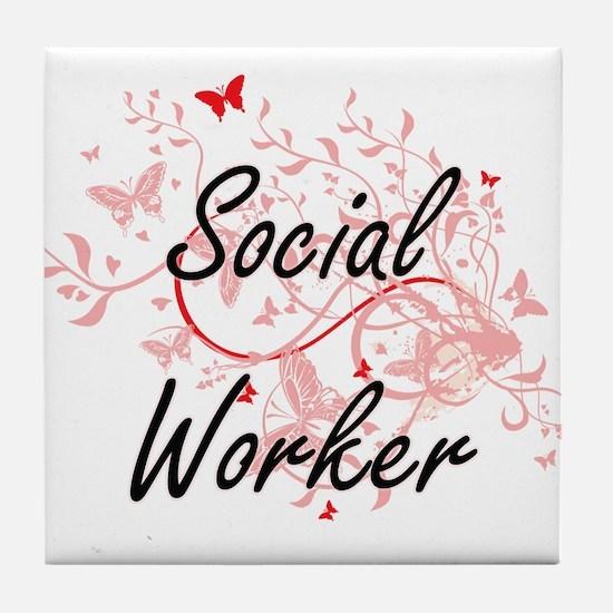 Social Worker Artistic Job Design wit Tile Coaster