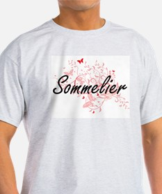 Sommelier Artistic Job Design with Butterf T-Shirt