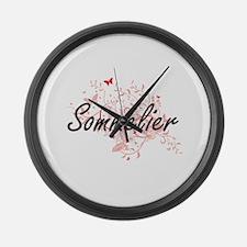 Sommelier Artistic Job Design wit Large Wall Clock