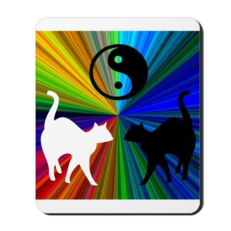 YIN-YANG RAINBOW CATS Mousepad