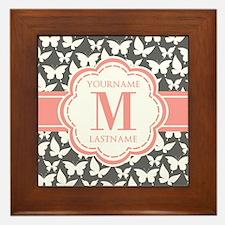 Gray Butterflies, Coral Monogram Framed Tile